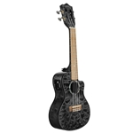 lanikai Quilted Maple Black Stain Concert w/Kula Pre A/E