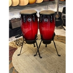 2 Congas with Tripod Stand, Wine Red Burst