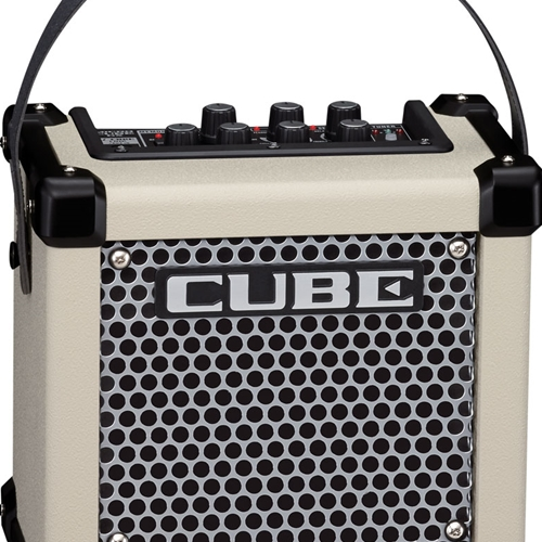 Roland portable guitar amplifier in white.